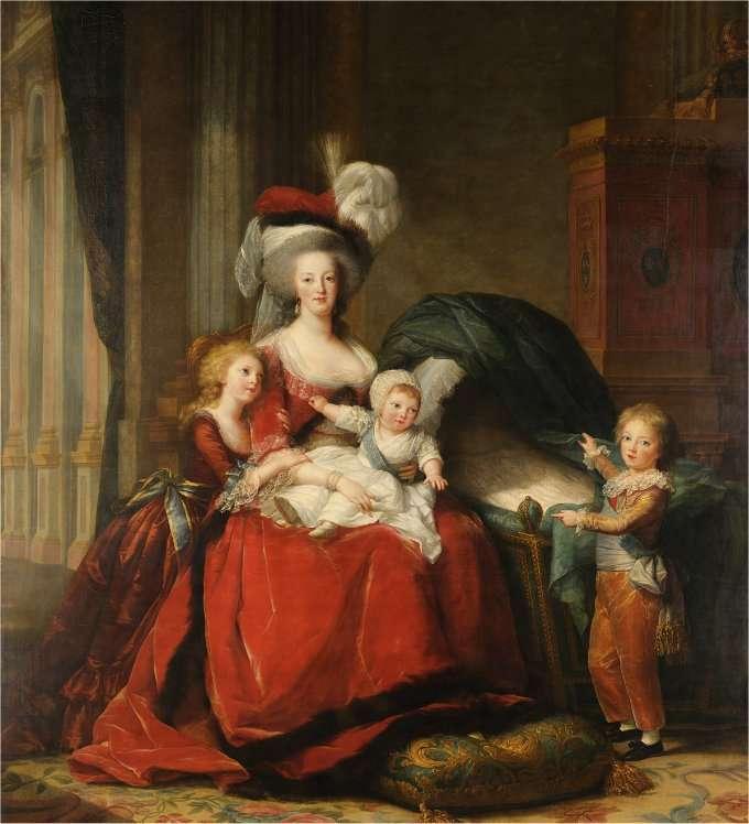 Marie-Antoinette et ses enfants, immortalisés par le pinceau de Louise-Élizabeth Vigée-Lebrun sur un tableau visible au château de Versailles. © Google