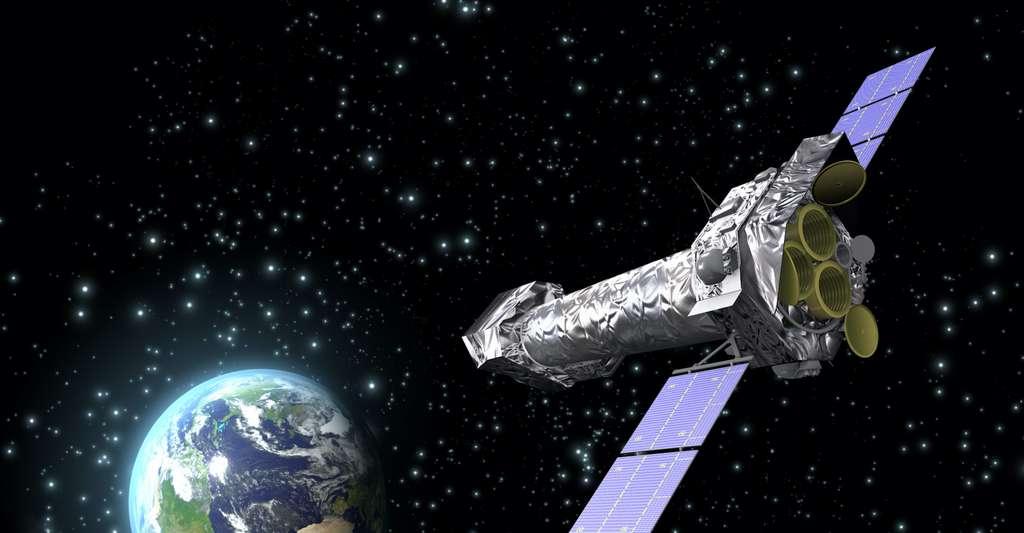 L'étude présentée ici s'appuie sur deux instruments embarqués à bord du XMM-Newton – ici en vue d'artiste : le spectromètre à réseau de réflexion (RGS) et la caméra d'imagerie photonique européenne (EPIC). EPIC a été utilisée pour étudier la lumière émise par le halo et RGS pour étudier comment le halo affecte et absorbe la lumière qui le traverse. © C. Carreau, ESA