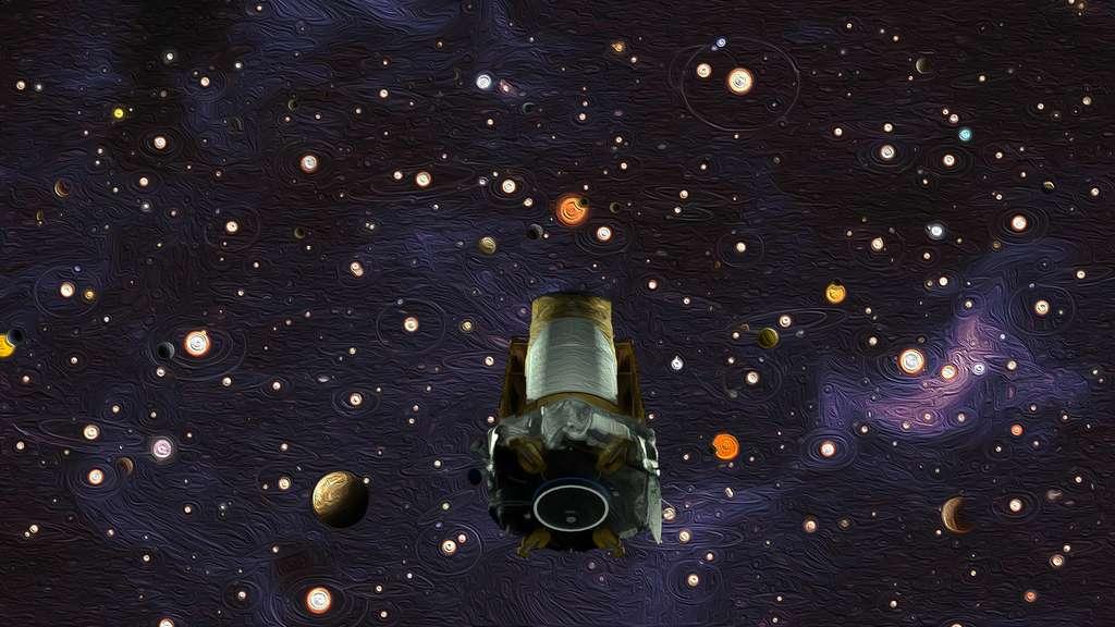 Sur cette illustration, le satellite chasseur d'exoplanètes Kepler est représenté devant une multitude de planètes en orbite autour d'autres étoiles. © Nasa