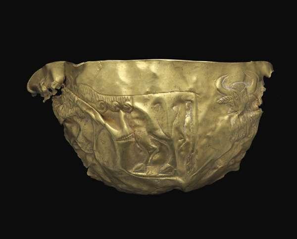 Bol à décor de taureaux barbus, de l'âge du bronze