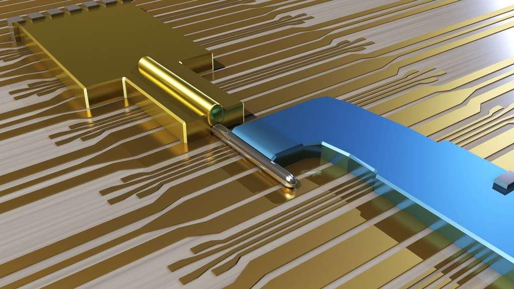 Une représentation du transistor où les physiciens ont probablement provoqué la fabrication des quasi-particules décrites par la théorie des fermions de Majorana. Le nanofil en antimoniure d'indium est recouvert d'or et connecté à une électrode supraconductrice en bleu. © TU Delft 2012