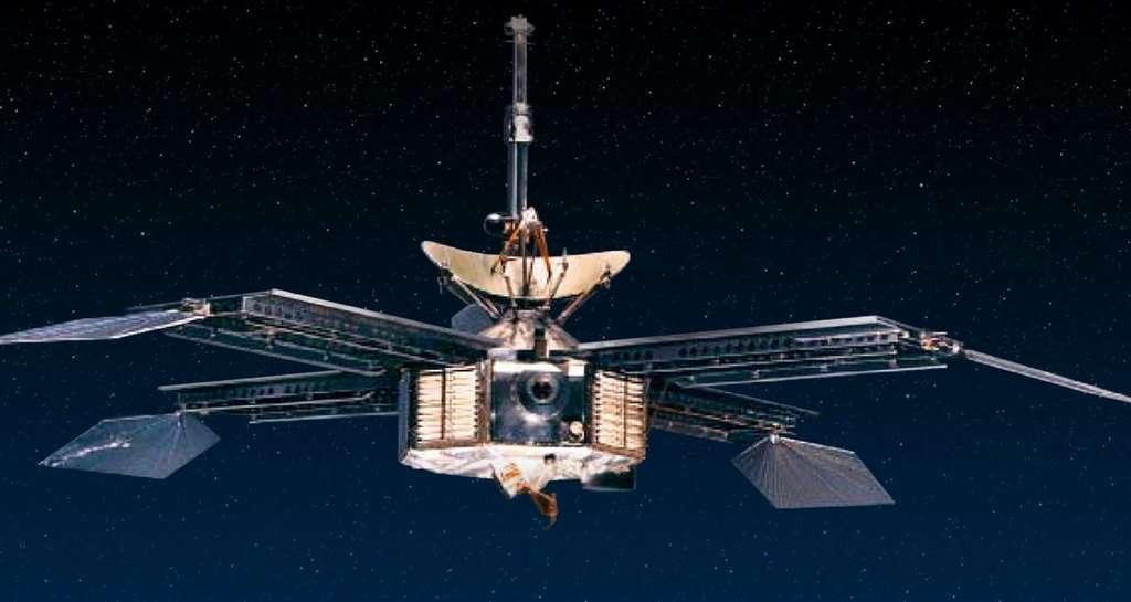 Trois semaines avant Mariner 4, Mariner 3, sa sonde jumelle, est lancée vers Mars. Mais un problème technique la prive d'une alimentation par panneaux solaires. La sonde n'atteindra jamais Mars. © Nasa