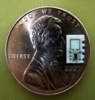 Cette pièce d'un penny (1 centime de dollar américain) mesure 19,05 millimètres de diamètre. Cela donne une idée de la taille de la puce dont la surface est de 2 millimètres carrés. Cependant, c'est encore bien trop gros pour se promener dans les petits vaisseaux sanguins, dont les plus fins ne mesurent que quelques micromètres de diamètre. © Ada Poon, Stanford School of Engineering