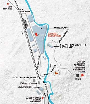 Plan d'accès à la carrière de Talc de Luzenac, Ariège