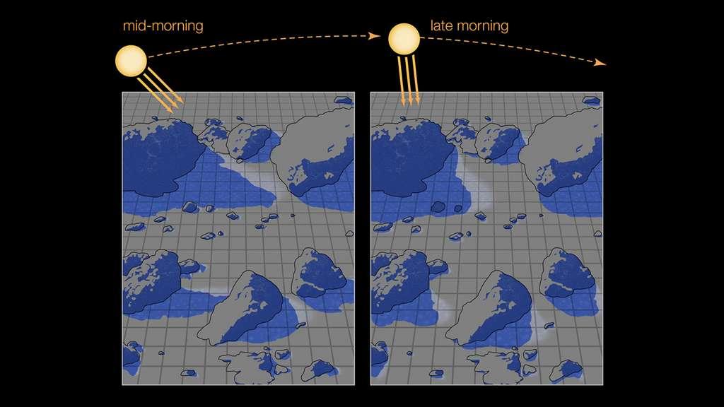 Cette illustration fait un zoom sur la zone encadrée indiquée sur la photo précédente, montrant comment les ombres permettent à la glace d'eau de survivre sur la surface lunaire éclairée par le Soleil. Lorsque les ombres se déplacent alors que le Soleil passe au-dessus du zénith, le givre exposé persiste suffisamment longtemps pour être détecté par les engins spatiaux. © Nasa, JPL-Caltech