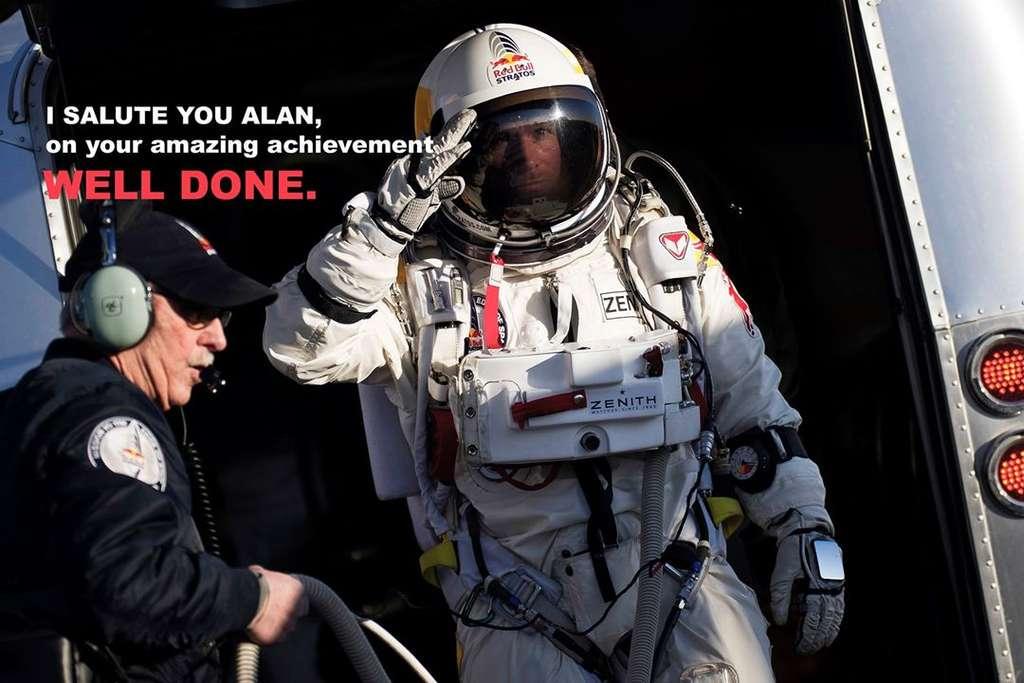 Sur sa page Facebook, Felix Baumgartner félicite Alan Eustace. © Felix Baumgartner