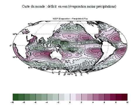 Carte du monde de l'évaporation moins les précipitations. © DR, reproduction et utilisation interdites