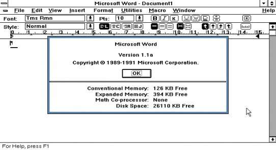 Souvenir, souvenir… Voici le Word pour Windows de 1989. À l'époque, il apportait au traitement de texte une interface Wysiwyg (What you see is what you get, ou « ce que vous voyez est ce que vous obtenez ») qui lui permit de conquérir un large public. © Microsoft