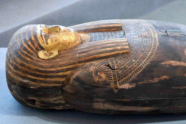 Un sarcophage découvert à Saqqara, lors d'une cérémonie, le 14 novembre 2020. © Ahmed Hasan, AFP
