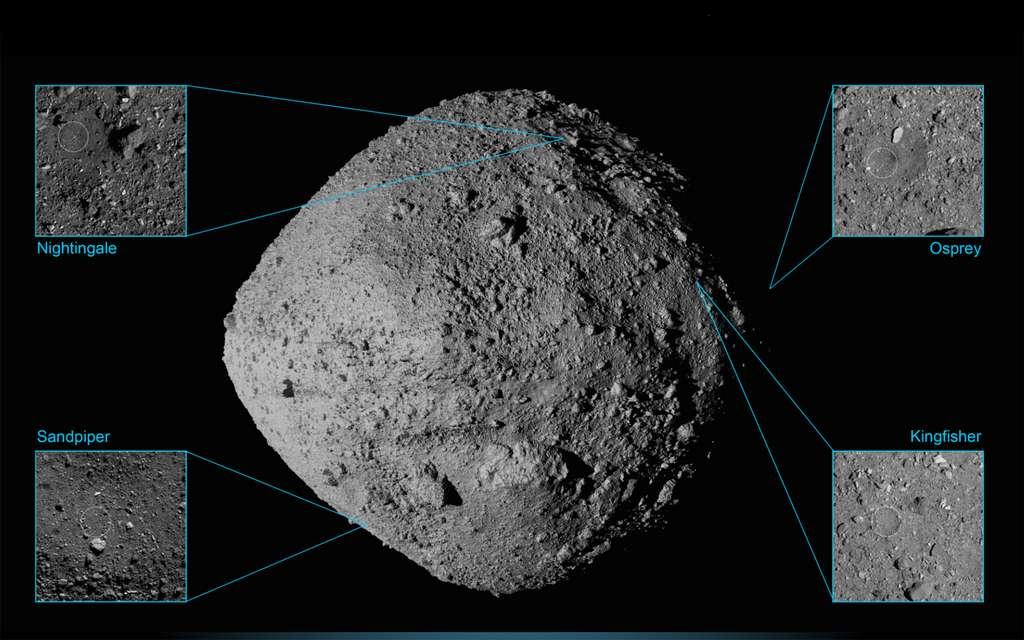 Les quatre sites présélectionnés pour le prélèvement d'échantillons sur l'astéroïde Bennu. Le site finalement retenu est Nightingale. © Nasa, Goddard, University of Arizona