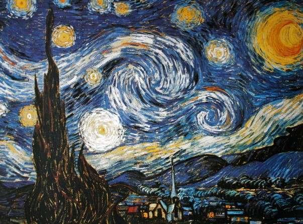 """Dans sa """"Nuit étoilée"""" peinte en 1889, Vincent Van Gogh représente les astres comme des spirales, une forme qu'on retrouve dans la nébuleuse planétaire Iras 23166+1655. Crédits DR"""