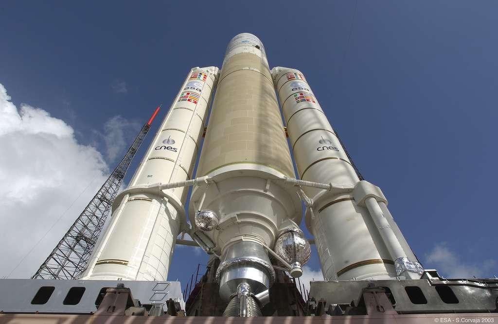 Sur les onze Ariane 5 qui restent à lancer avant le remplacement par Ariane 6, Arianespace prévoit d'en lancer 5 cette année. © ESA, S. Corvaja