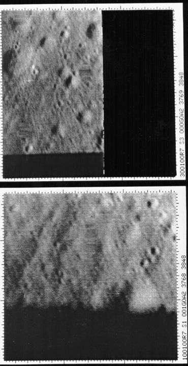 Les deux dernières images de Ranger 7, prises depuis 1.070 et 519 mètres de la surface, 0,39 et 0,19 seconde avant l'impact. Crédit Nasa