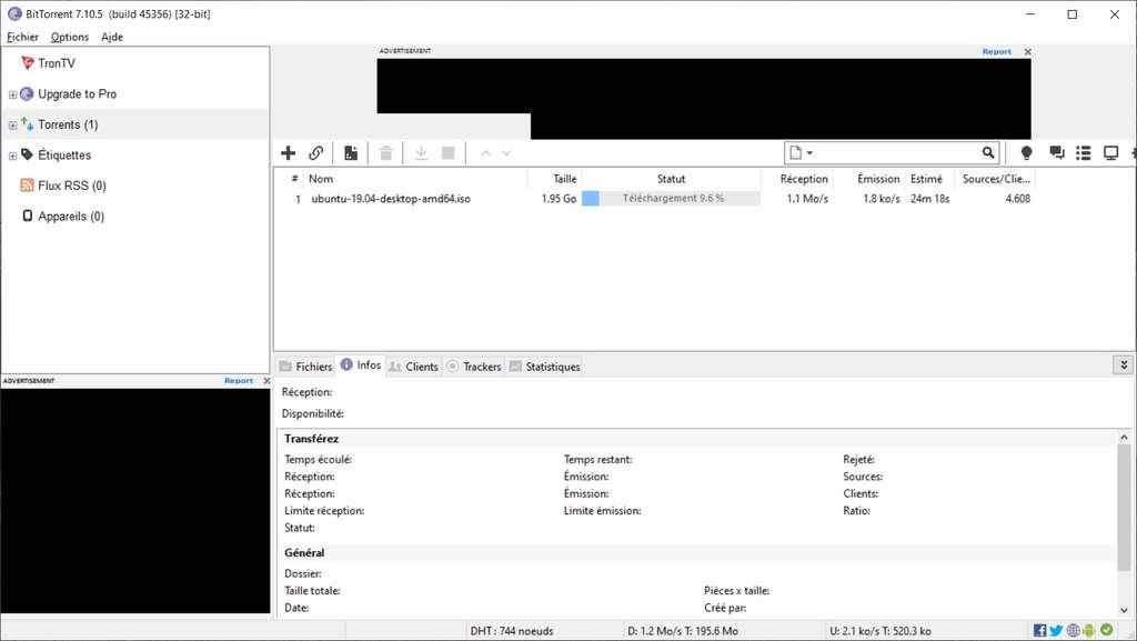 BitTorrent est le premier client développé pour échanger des fichiers en utilisant le protocole éponyme © BitTorrent Inc.