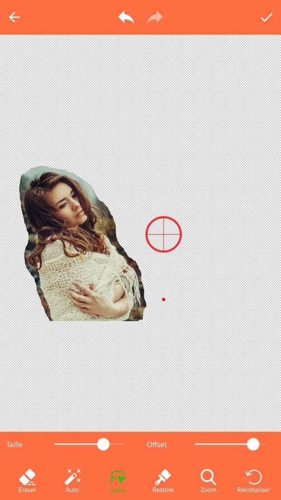 Résultat, après utilisation de l'outil « Lasso ». © Effacer les antécédents