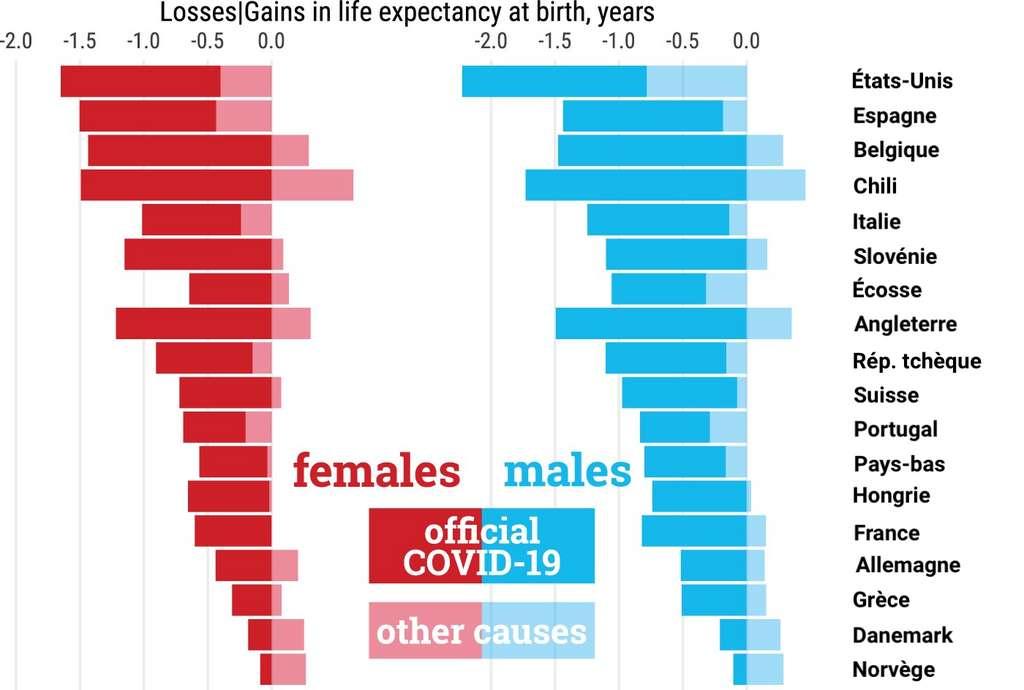 Perte d'espérance de vie à la naissance entre 2019 et 2020, attribuable à la Covid-19 ou à d'autres causes. © José Manuel Aburto et al, International Journal of Epidemiology, 2021, traduction C.D