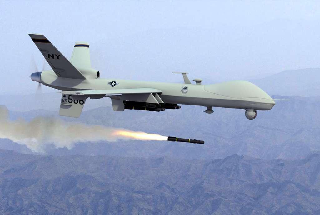 Une image de la guerre à distance qui fait polémique chez les scientifiques : un drone Predator tirant un missile Hellfire. © US Army