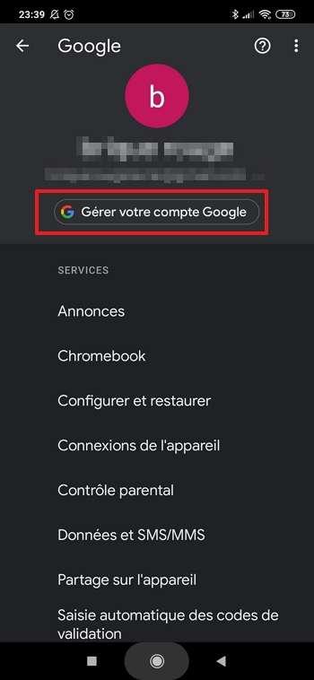 Allez dans les paramètres de gestion de votre compte Google. © Google Inc.