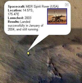 Site d'atterrissage de Spirit, vu par Google Mars. © Nasa/JPL