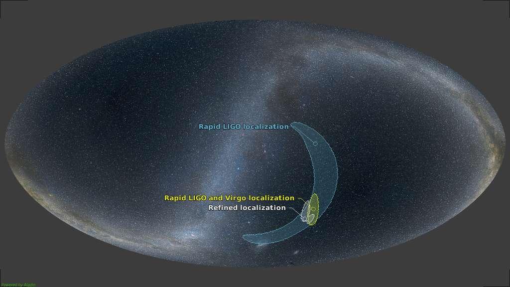 Sur cette image de la voûte céleste, avec la Voie lactée, les régions entourées sont celles de plus forte probabilité pour la présence de la source GW170814. La combinaison des observations de Ligo et de Virgo permet de bien mieux localiser la région où s'est produit cet évènement. © Collaboration Virgo, LIGO Scientific Collaboration