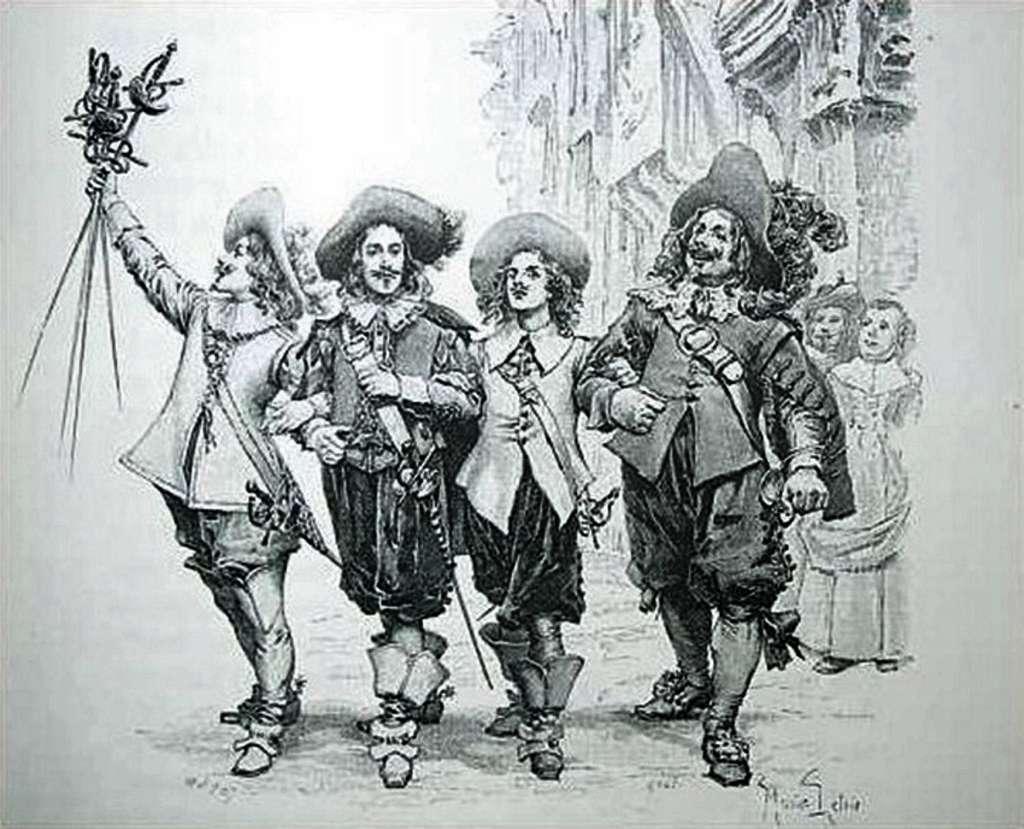 Illustration de l'ouvrage d'Alexandre Dumas, « Les trois mousquetaires », par Jules Huyot et Maurice Leloir en 1894. © Wikimedia Commons, domaine public