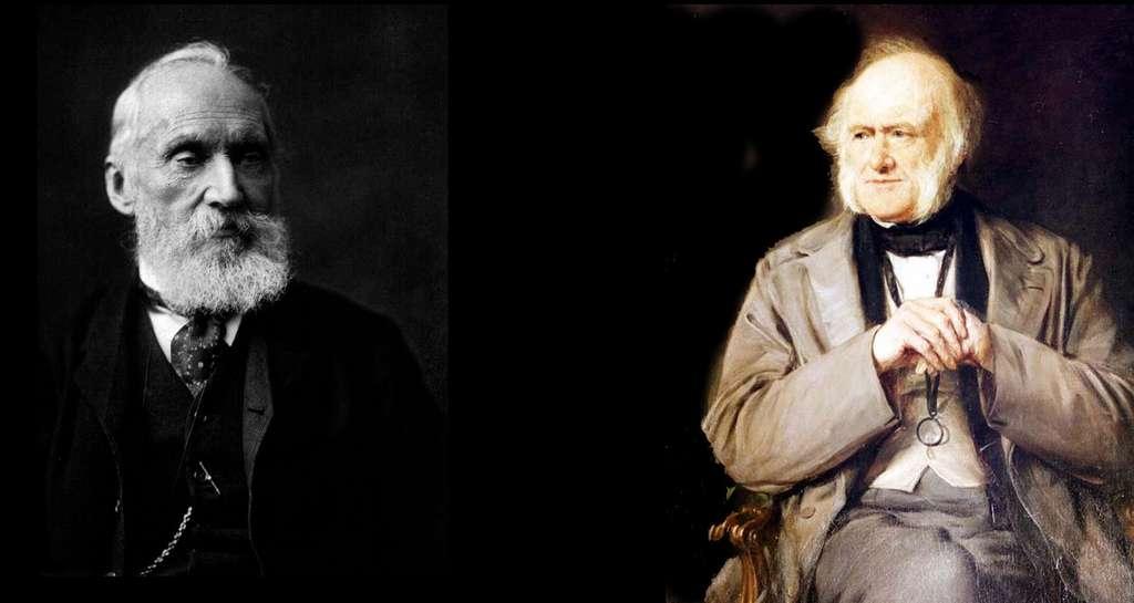 À gauche, Lord Kelvin. © William Thomson, Wikimedia commons, DP. À droite, Charles Lyell. © Kelson, Wikimedia commons, DP