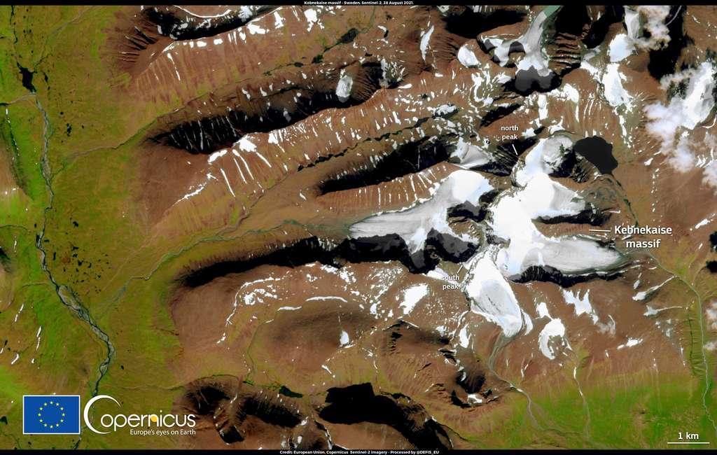 Photo du glacier Kebnekaise, prise par la sonde Sentinel-3A. © Copernicus