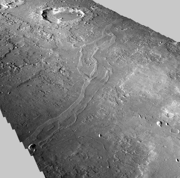 Vue en perspective de la vallée inversée Aram Dorsum, un des sites candidats pour la future mission européenne ExoMars 2020. © Nasa, JPL, MSSS