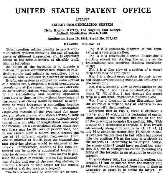 Le brevet déposé par Hedy Lamarr et George Antheil en 1941. © US Patent Office