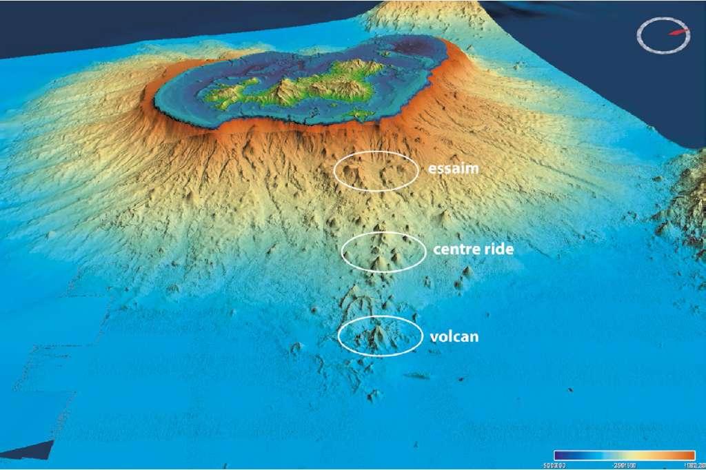Morpho-bathymétrie de l'île de Mayotte (ancien volcan). L'emplacement du nouveau volcan est entouré. © MAYOBS, Ifremer, CNRS, IPGP, BRGM