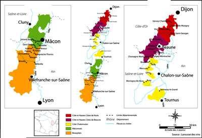 Cliquez pour agrandir la carte Vignobles de Bourgogne