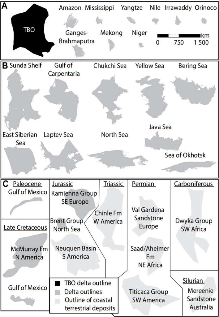 Comparaison entre la superficie du delta de la mer de Barents, plus grand delta de l'Histoire, et les deltas modernes (- 10.000 ans jusqu'à nos jours ; encadré A), les deltas existant durant le dernier maximum glaciaire (- 110.000 à - 10.000 ans ; encadré B) et enfin les deltas beaucoup plus anciens (Jurassique, Crétacé, Carbonifère, etc. ; encadré C). Le delta de la mer de Barents est noté TBO pour Triassic Boreal Ocean, qui désigne l'océan dans lequel il s'avançait durant le Trias. © Tore Grane Klausen et al., Geology, 2019