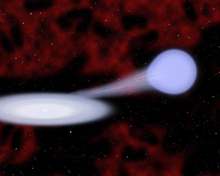 Une vue d'artiste d'une naine blanche accrétant de la matière en provenance d'une étoile B. Une supernova SN Ia peut en résulter. © Christine Pulliam (CfA)