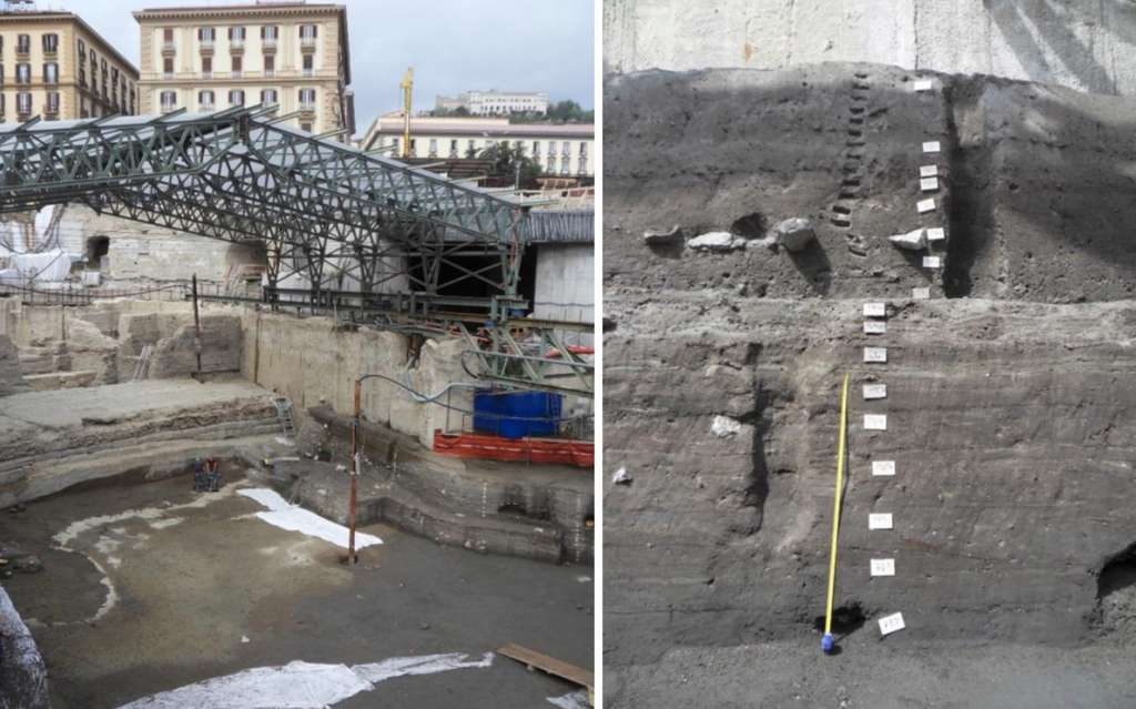 Le site des fouilles archéologiques du port antique de Naples se trouve en face de la place municipale et à quelques mètres sous le niveau marin actuel. À droite : un exemple de coupe stratigraphique échantillonnée dans le cadre de cette étude. Elle est constituée de vases portuaires dont les compositions isotopiques du plomb révèlent l'histoire romaine de la ville. © Hugo Delile