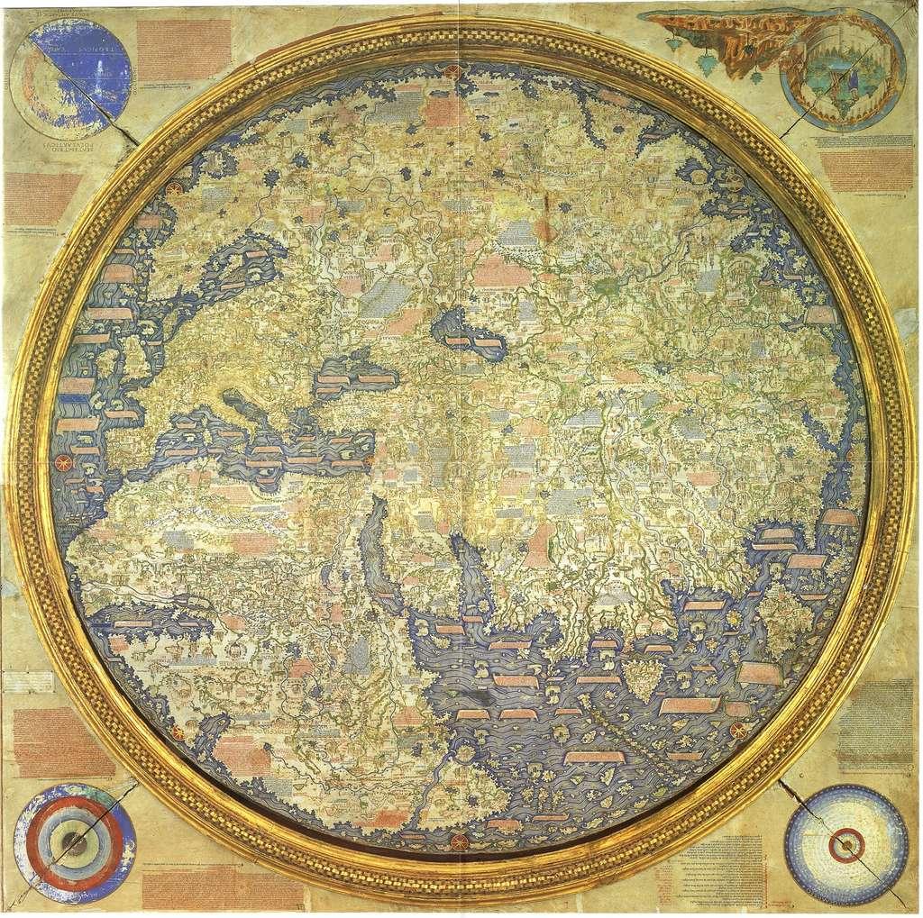 Mappemonde de Fra Mauro en 1459 ; inversée par rapport à l'originale qui place le sud en haut de la carte. Bibliothèque nationale San Marco, Venise. © Wikimedia Commons, domaine public