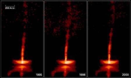 Figure 3. De 1995 à 2000, le télescope Hubble a pris différentes photos des jets bipolaires d'une jeune étoile âgée d'un demi-million d'années. La barre en haut à gauche donne l'échelle en unités astronomiques (UA). Crédits : Nasa, Alan Watson (Universidad Nacional Autonoma de Mexico), Karl Stapelfeldt (Jet Propulsion Laboratory), John Krist, Chris Burrows (European Space Agency/Space Telescope Science Institute)