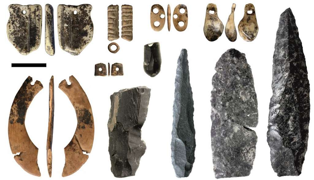 Objets retrouvés dans la grotte de Denisova, datés de 35.000 à 50.000 ans. La barre représente 1 cm. © IAET SB RAS, Sergei Zelenski, université de Wollongong