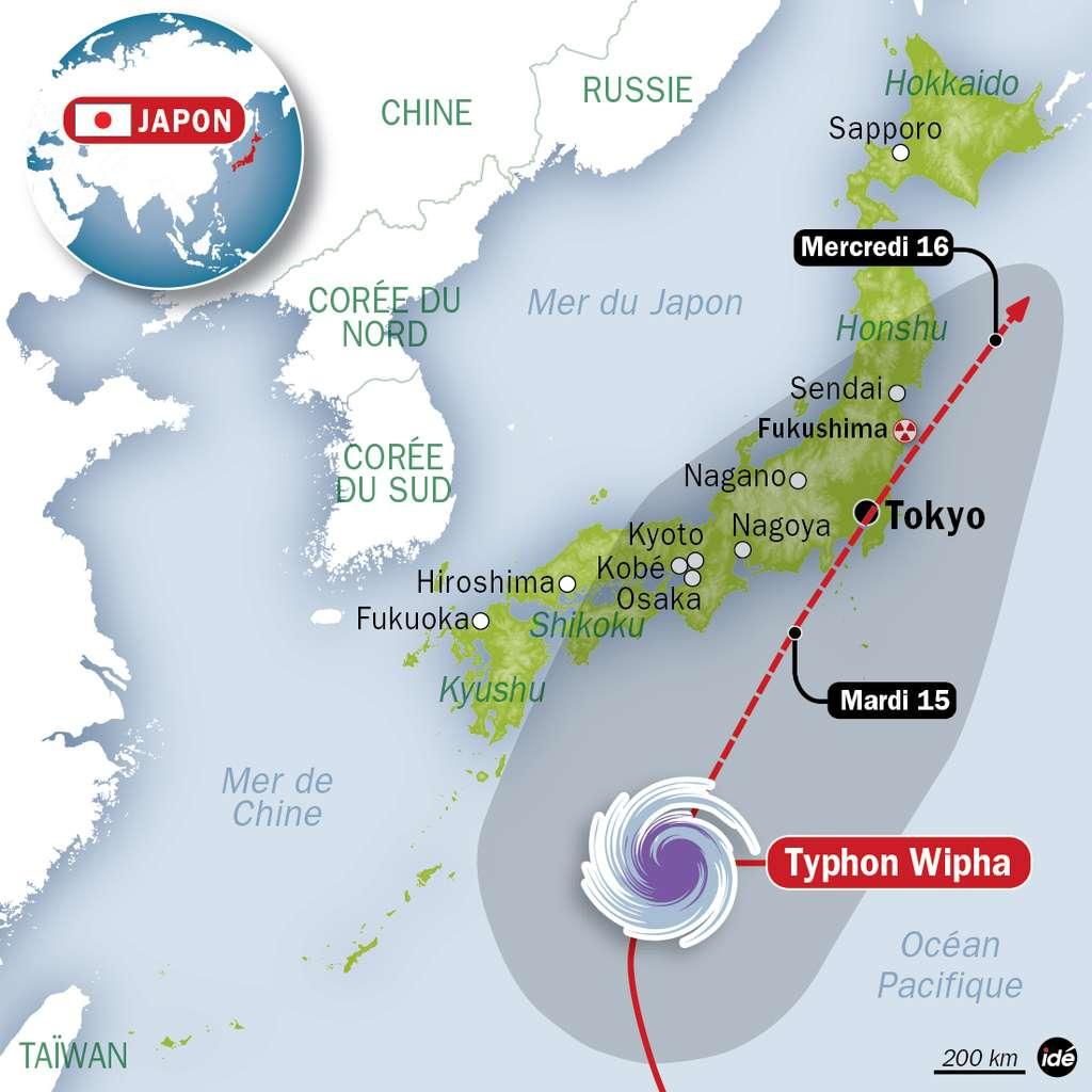 Voici la trajectoire du typhon Wipha qui était prévue en date du 14 octobre 2013. © Idé
