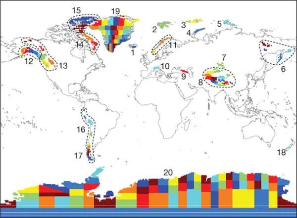 Chaque couleur représente un « mascon ». Il y en a 175 répartis en 20 régions représentées en pointillés ou avec des numéros. La masse de glace (en tonne) de chacun d'entre eux a été mesurée depuis l'espace entre 2003 et 2010. © Jacob et al. 2012, Nature