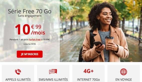 Free Mobile lance une promotion à -45 % pour son forfait de 70 Go.