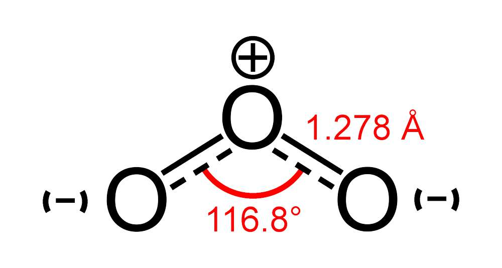 Représentée ici, la structure de la molécule d'ozone. © Ben Mills, Wikipedia, Domaine public
