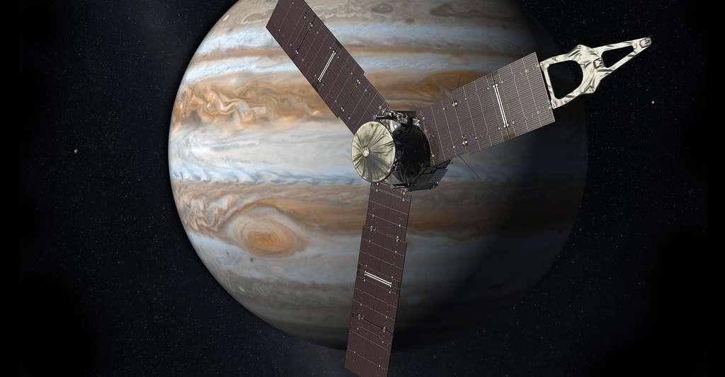 Quel rôle les tourbillons anticycloniques jouent-ils dans la formation planétaire ? Ici, vue de Jupiter et de la sonde Juno. La Grande Tache rouge de Jupiter est un exemple de tourbillon anticyclonique. © Nasa, JPL, Wikimedia Commons, DP
