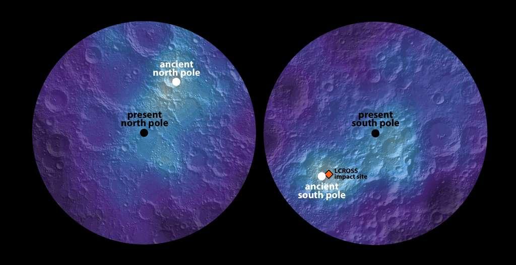 Distribution de l'hydrogène autour des deux calottes polaires de la Lune. Les points noirs indiquent les deux pôles actuels : le pôle nord est à gauche (present north pole, en anglais sur l'image), le pôle sud à droite (present south pole). Les deux bandes en bleu clair indiquent une abondance plus élevée d'hydrogène, associée à des dépôts de glace d'eau plus importants, à l'abri du rayonnement solaire. Ils sont aussi longs l'un que l'autre et partent dans des directions opposées. Ils suggèrent que les pôles ont dérivé. Les points blancs indiquent l'emplacement des anciens pôles (ancient north pole, à gauche, et ancient south pole, à droite). © James Keane, University of Arizona, et Richard Miller, University of Alabama at Huntsville