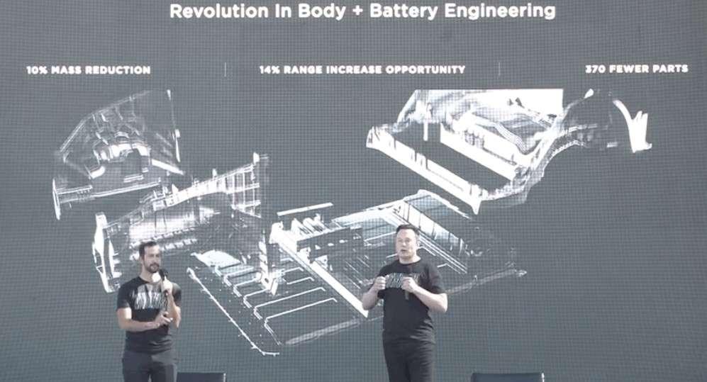 Capture d'écran extraite de la présentation de la nouvelle cellule lithium-ion 4680 par Tesla en septembre dernier lors du Battery Day. On voit comment le nouveau bloc batterie devient une partie intégrante du châssis. © Tesla/Electrek