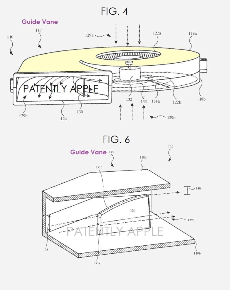 Comme le montre cette figure, l'ailette est située en sortie d'évacuation de l'air. © USPTA, Apple