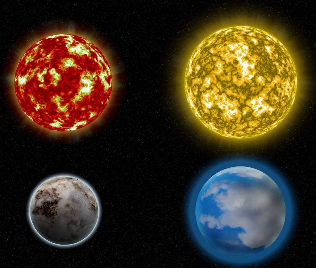 Illustration montrant des étoiles plus massives qui ont tendance à héberger des planètes plus grandes. Les planètes et les étoiles ne sont pas à l'échelle. © Michael Lozovsky