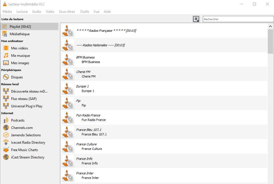 La liste des radios s'affiche et vous pouvez maintenant choisir celle que vous voulez écouter. © VideoLAN non-profit organization