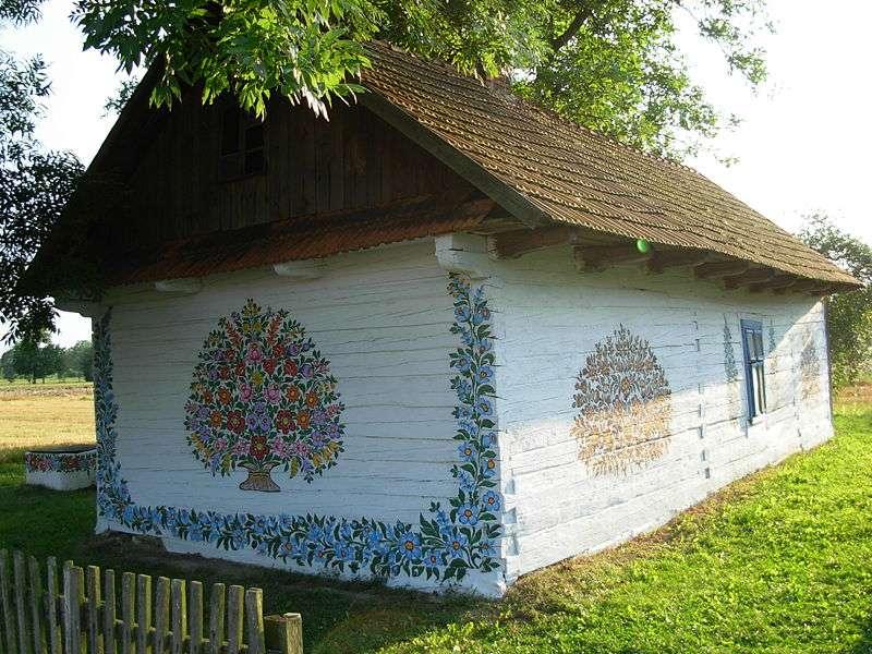 Maison peinte en Pologne