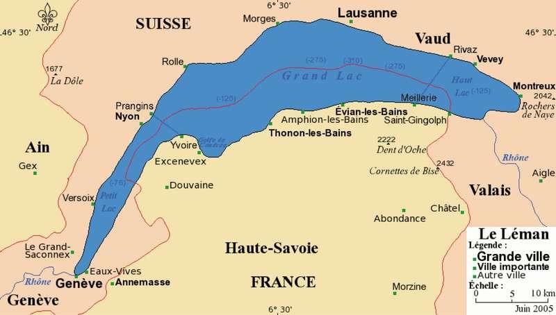 Le lac Léman est situé entre la France et la Suisse. D'une superficie de 581,3 km2, c'est le plus grand lac naturel d'Europe de l'Ouest. © Chumwa, GNU 1.2