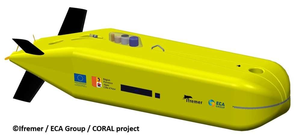 Représentation du futur AUV d'ECA Group. Il sera autonome et plongera jusqu'à 6.000 m. © Ifremer, ECA Group, alliance Coral
